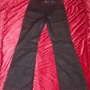 7 For All Mankind Ginger Stretch Wide-leg Jean BLK
